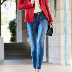 WHBM pintucked skinny ankle jeans